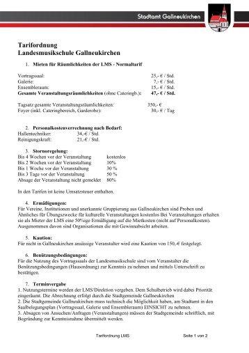 Tarifordnung Landesmusikschule Gallneukirchen