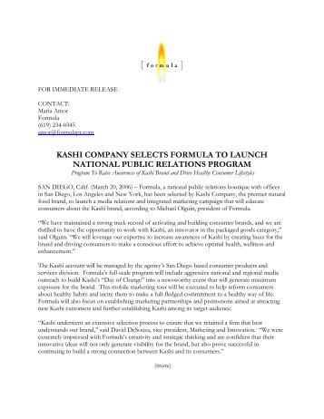 kashi company selects formula for national launch... - Formula PR