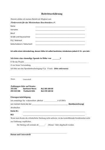 Beitrittserklärung - Förderverein für das Missionshaus Knechtsteden ...