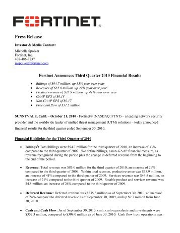 Fortinet Announces Third Quarter 2010 Financial Results