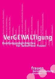 """Broschüre """"VerGEWALTigung"""" - Frauenberatungsstelle Düsseldorf"""