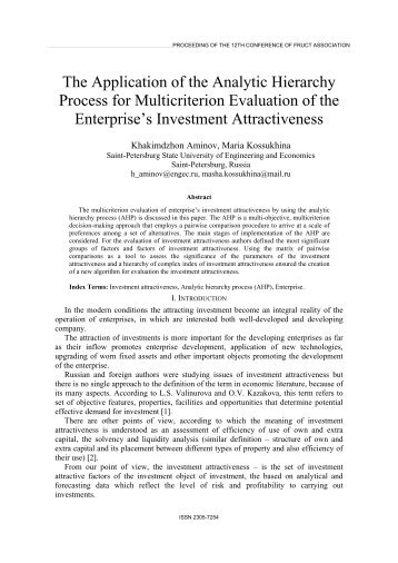 The Application of the Analytic Hierarchy Process for ... - FRUCT
