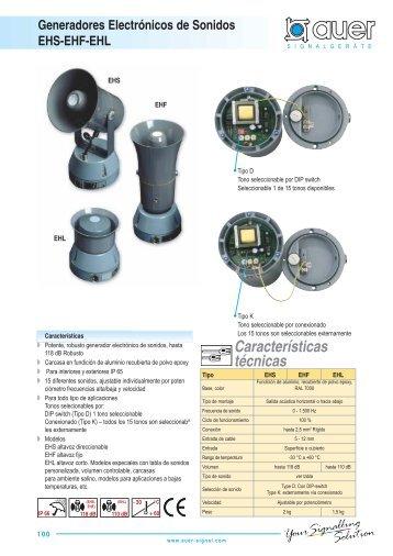 Características técnicas Generadores Electrónicos de Sonidos ...