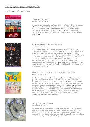 liste du coffret livres d'artistes 2 - Frac des Pays de la Loire