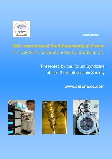 19th International Reid Bioanalytical Forum 4-7 July 2011 ...