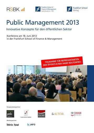 Agenda-Public-Management-Konferenz2013 - Frankfurt School Verlag