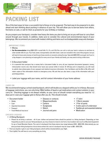 Packing List Kenya - 2013 Trips - Free The Children