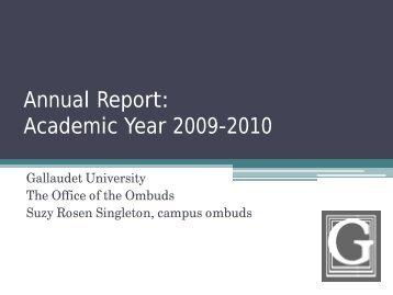 Annual Report: Academic Year 2009-2010 - Gallaudet University
