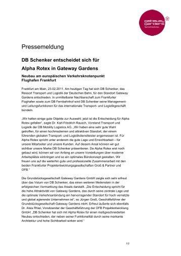 DB Schenker entscheidet sich für Alpha Rotex in Gateway Gardens