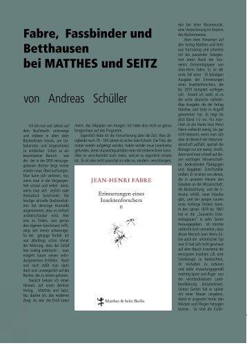 Fabre, Fassbinder und Betthausen bei MATTHES ... - Galerie Laterne