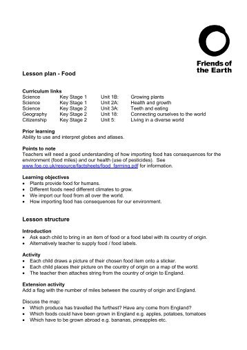 Lesson Plan 4  Habitats  Friends of the Earth