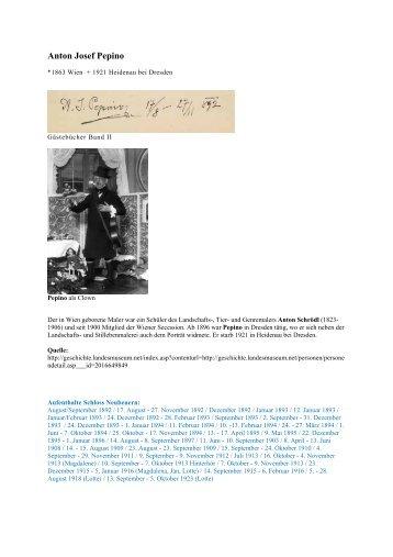 Anton Josef Pepino - Gästebücher von Schloss Neubeuern