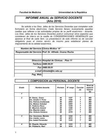 Informe Anual 2010 Clinica Medica A - Facultad de Medicina