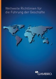 Weltweite Richtlinien für die Führung der Geschäfte - Gambro