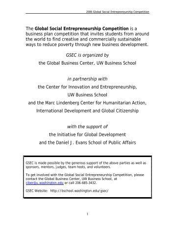 Social entrepreneurship business plan example