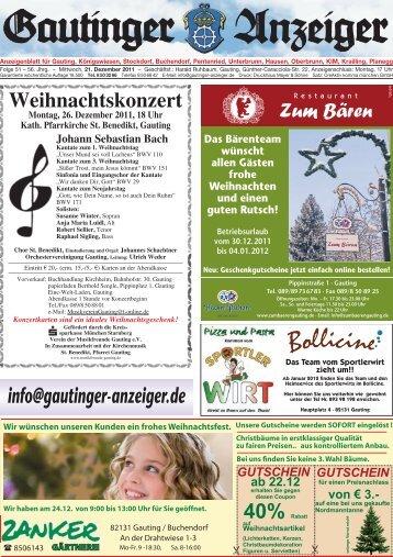 Weihnachtsausgabe 2011 - Gautinger-anzeiger.de