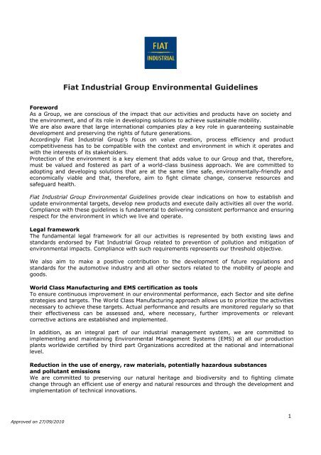 Fiat Industrial Group Environmental Guidelines