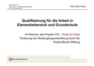Qualifizierung für die Arbeit in Elementarbereich und Grundschule
