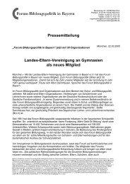 """""""Forum Bildungspolitik in Bayern"""" jetzt mit 30 Organisationen"""