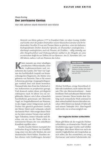 Der zerrissene Genius - Neue Gesellschaft Frankfurter Hefte