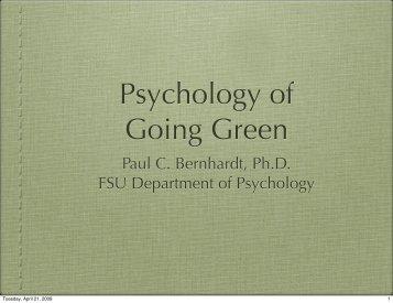Psychology of Going Green - Frostburg State University