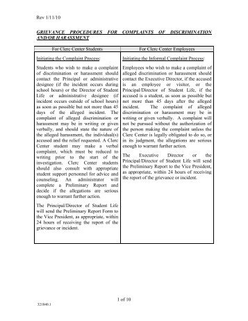 Rev 1/11/10 1 of 10 GRIEVANCE PROCEDURES FOR ...