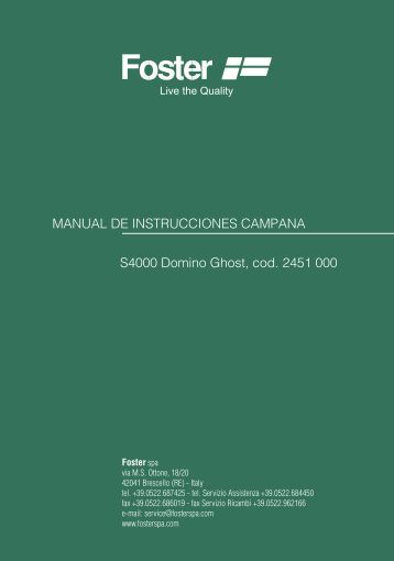MANUAL DE INSTRUCCIONES CAMPANA S4000 Domino ... - Foster