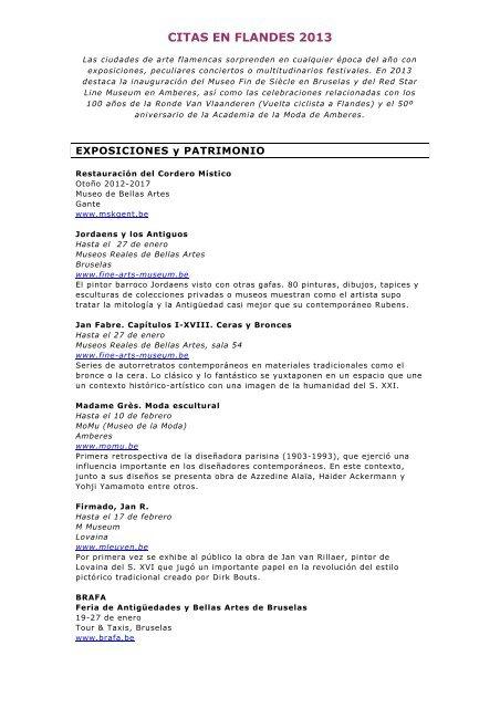 Agenda De Acontecimientos 2013 Flandes Y Bruselas
