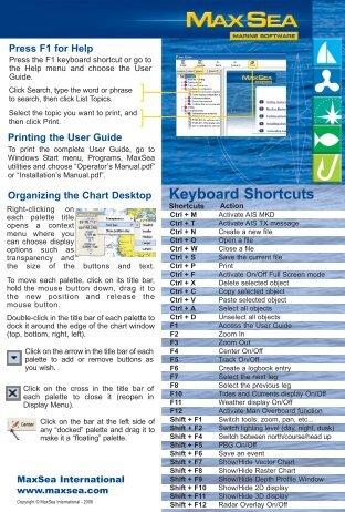 MaxSea Quick Reference Card Version 12.5 - Furuno USA