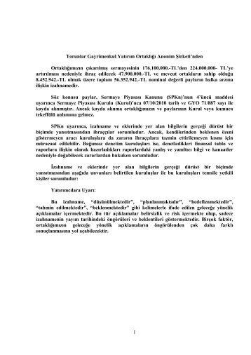 Torunlar Gayrimenkul Yatırım Ortaklığı A.Ş. halka ... - Garanti Bankası