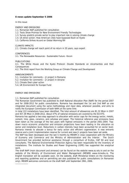 E-news update September 5 2006 In this issue: ENERGY ... - Focus