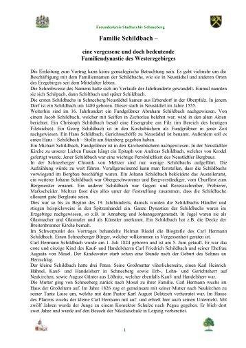Familie Schildbach ? - Freundeskreis Stadtarchiv Schneeberg