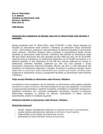 prof. dr. Peter Kokol - Fakulteta za zdravstvene vede - Univerza v ...