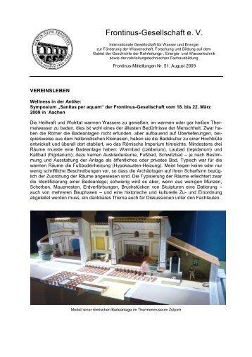 Frontinus-Mitteilungen Nr. 51, August 2009