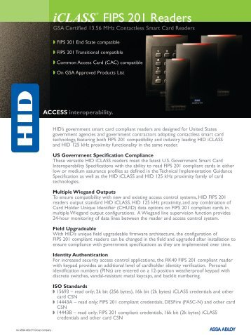 iCLASS® FIPS 201 Readers - Galaxy Control Systems