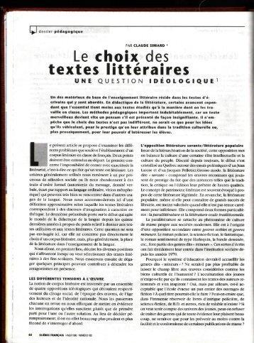 Le choix des textes I itté rai res - Faculté des sciences de l'éducation ...