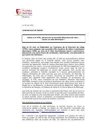 Le 25 avril 2012 - Fédération du Tourisme de la Province de Liège