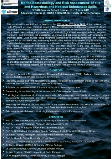 Marine Ecotoxicology and Risk Assessment of oils and Hazardous ...