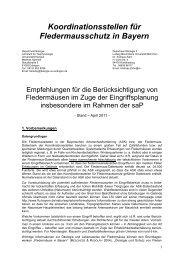 Berücksichtigung von Fldm. bei Eingriffsplanung - Fledermaus-Bayern