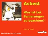 Sanieren von Altlasten - Forum Asbest Schweiz
