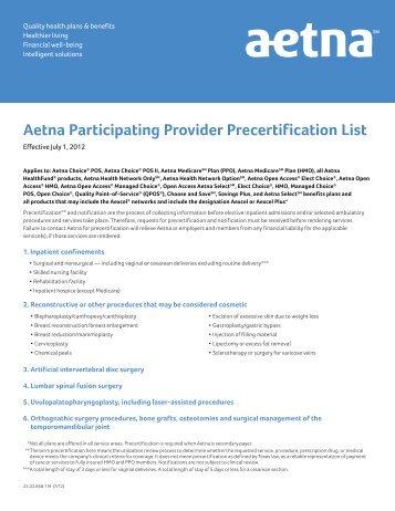 aetna participating provider precertification list