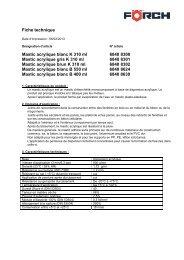 Fiche technique Mastic acrylique blanc K 310 ml 6840 8300 ... - Förch