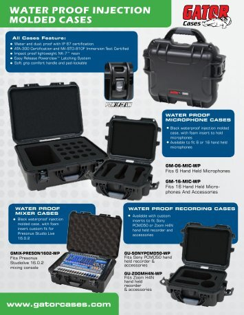 WATER PROOF INJECTION MOLDED CASES - Gator Cases
