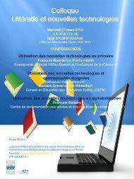Colloque Littératie et nouvelles technologies - 27 ... - Frontier College