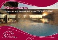 Wissenswertes zu Sauna und Sole - Fontane Therme