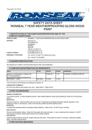 safety data sheet ronseal 7 year weatherproofing gloss wood paint. Black Bedroom Furniture Sets. Home Design Ideas