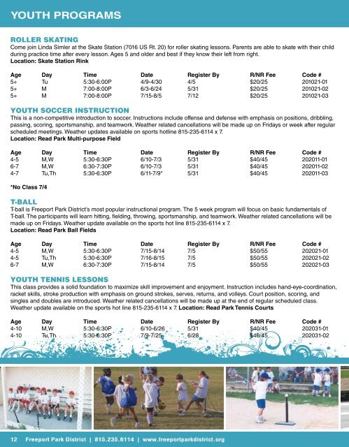 YoUTH PRoGRAMS - Freeport Park District