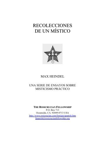 RECOLECCIONES DE UN MÍSTICO - Fraternidade Rosacruz no ...