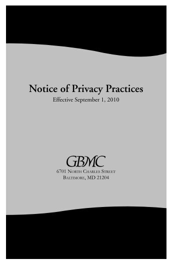 Notice of Privacy Practices - Greater Baltimore Medical Center