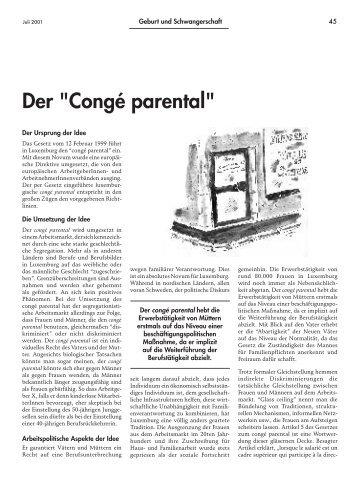 """Der """"Congé parental"""" - Forum – für Politik, Gesellschaft und ..."""